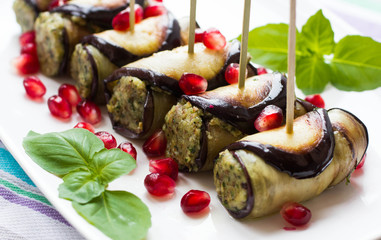rolls of eggplant with nuts