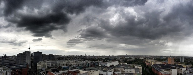 Berlin panorama with massive clouds