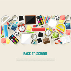Back to school background - flat style