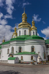 Cathedral with green roof in the Kiev Pechersk Lavra