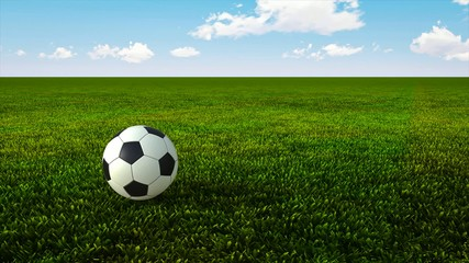 Soccer ball bouncing on green grass HD