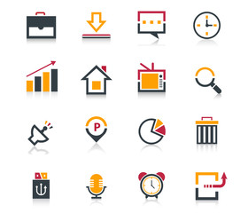 Media and communication flat icon set