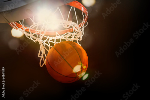 Poster Basketball scoring basket at a sports arena