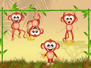 monkeys with bananas