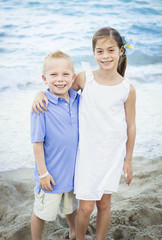 Smiling Children portrait at the beach
