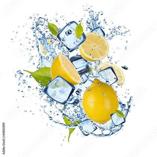 Ice lemons on white background