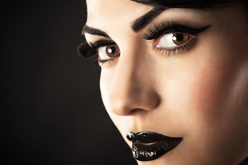Beauty Model Face with Black Makeup