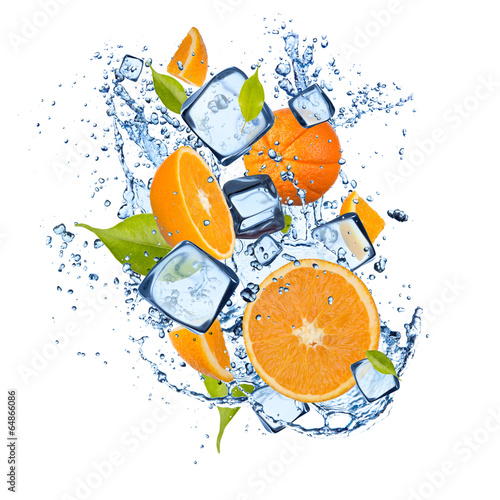 Ice oranges on white background