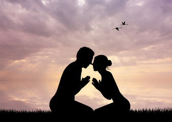 Couple in meditation