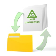 work flow file folder with under construction sign