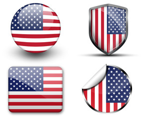 America flag button sticker and badge