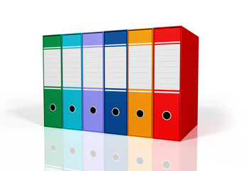green and red colorful binders
