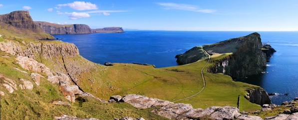 Panoramic view of the coast of Scotland at Neist Point