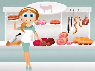 woman in butcher's shop