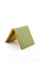 Green leather wallet isolated white background