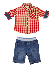 Male kid fashion clothes. Children clothes set isolated.