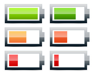 Battery level indicators (battery vector signs, symbols)