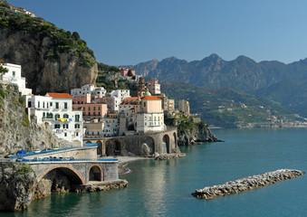 Amalfi Coast  with Atrani village and Lattari Mountains