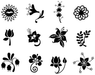 Fantasy flower icon silhouette collection set 2(vector)
