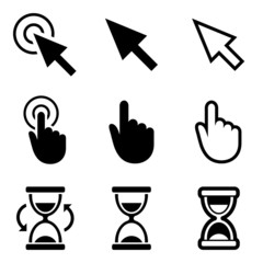 Cursors icons. Mouse, hand, arrow, hourglass.