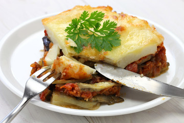 homemade moussaka, greece cuisine