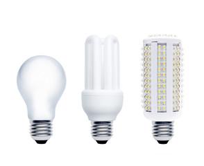 Glühbirne, Energiesparlampe, LED-Lampe