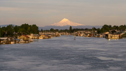 Mt Hood in Hayden Island with Houseboats in Portland OR