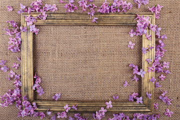 Beautiful lilac flowers and wooden photo frame