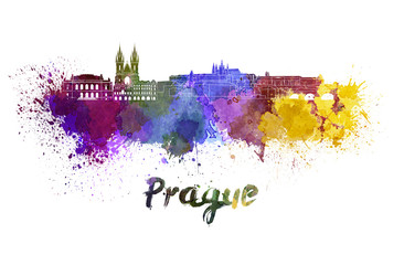 Prague skyline in watercolor