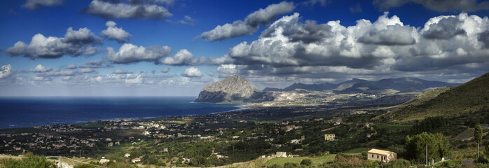 Italy, Sicily, view of Cofano mount and the Tyrrhenian coast