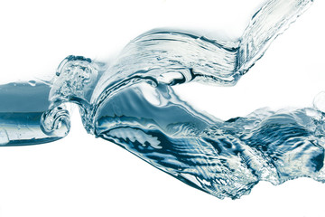 Water splash isolated on white. Close up of splash of water form