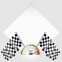 Sheet of Paper with Speedometer and Flags