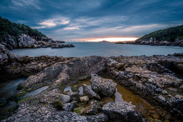 sunset at porticciolo romano, lazio coast