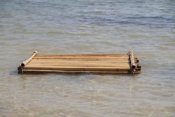 Bamboo raft floating in the sea, Phuket, Thailand