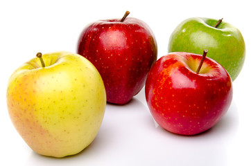 Red, green and yellow apples
