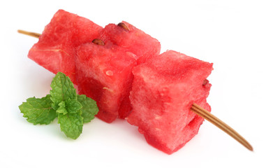 Sliced watermelon with mint