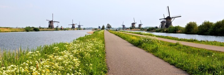 Panoramic view of windmills and canals, Kinderdijk, Netherlands