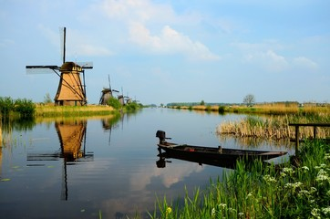 Historic windmills along the canals at Kinderdijk, Netherlands