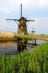 Windmill at Kinderdijk with reflection, Netherlands