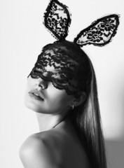 black and white portrait of sexy bunny girl