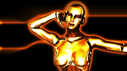 Sexy Golden Dancing Robot Girl