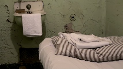 Furnishing of the Alcatraz prison cell.