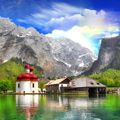 beautiful Alpine scenery - crystal lake Koenigsee with small chu