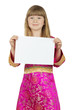 pretty little girl with card on the white background