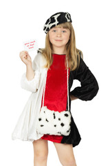 pretty little girl in cowboy costume on the white background