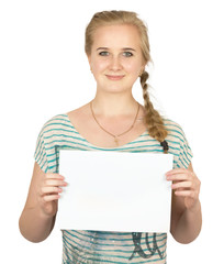 pretty blond girl  holding a card on white background