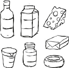 dairy product - black outline sketch