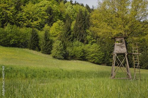 canvas print picture Jägerstand oder Jagd Kanzel auf grüner Wiese