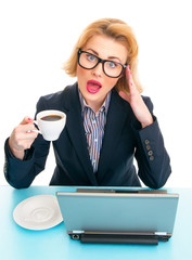Business woman holding coffee cup