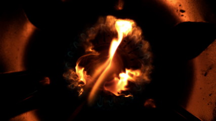 Fire lighting up in the darkness